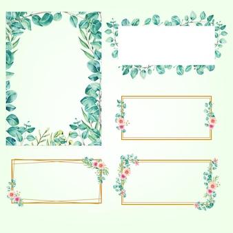 Instellen aquarel rechthoek frame eucalyptus Premium Vector