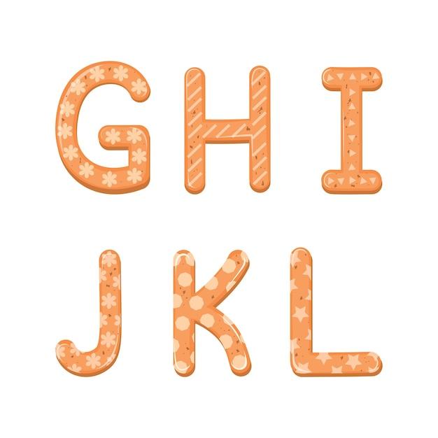 Instellen cartoon alfabet van kerstmis of nieuwjaar alfabet peperkoek cookies set met glazuur.