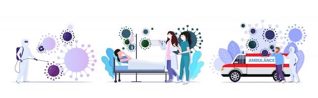 Instellen coronavirus cellen epidemie mers-cov virus zwevende griep verspreiding van wereldconcepten collectie wuhan 2019-ncov gezondheidsrisico volledige lengte vectorillustratie