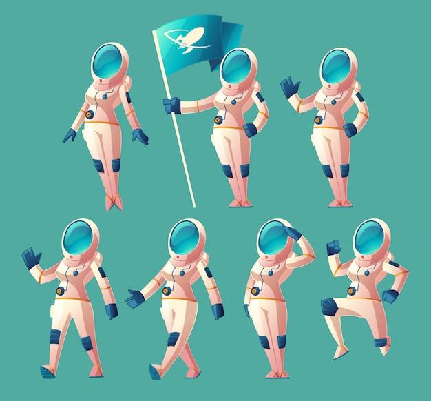 Instellen met cartoon astronaut meisje in ruimtepak en helm, in verschillende poses, vlag te houden