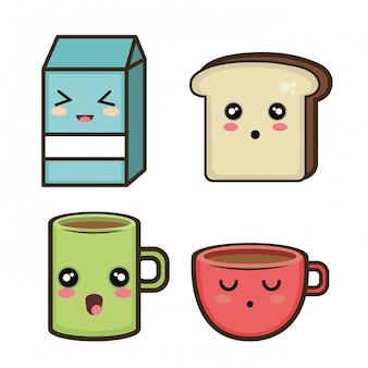 Instellen ontbijtontwerp cartoon