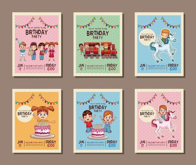 Instellen op verjaardag kinderen partij uitnodigingskaart vectorillustratie
