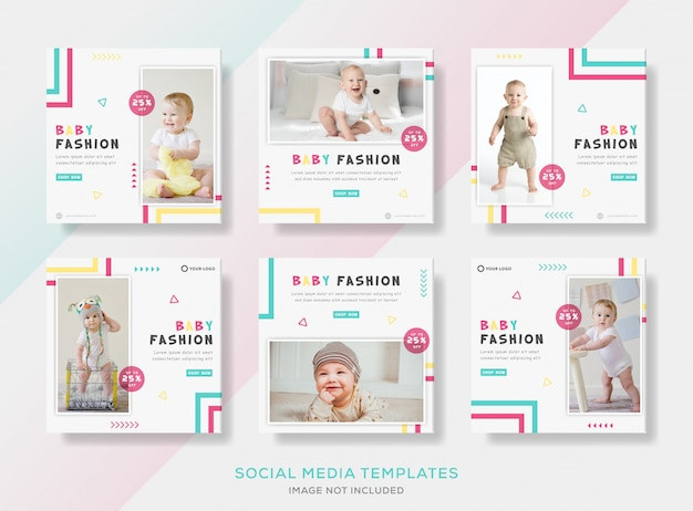 Instellen van banner sjabloon post voor schattige babymode.