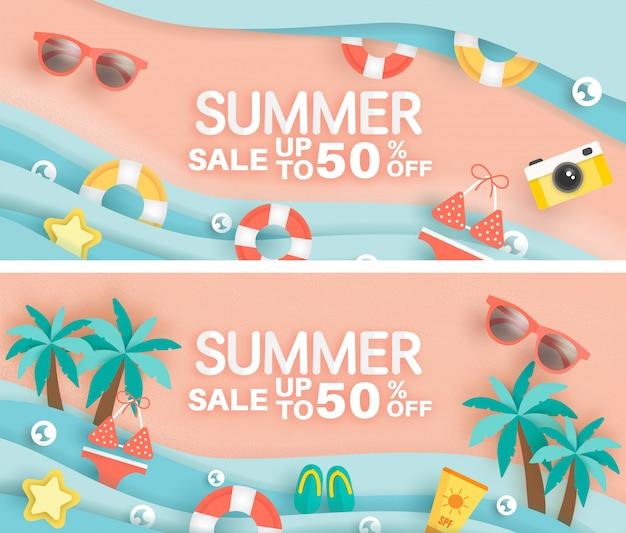 Instellen van zomer verkoop banner met zomer element in papier knippen stijl.