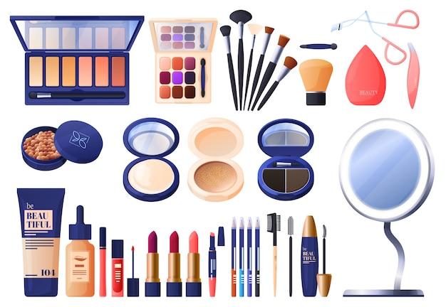 Instellen voor make-up, schaduwen, poeder, verschillende borstels, mascara, lippenstift, foundation, wimperclip.