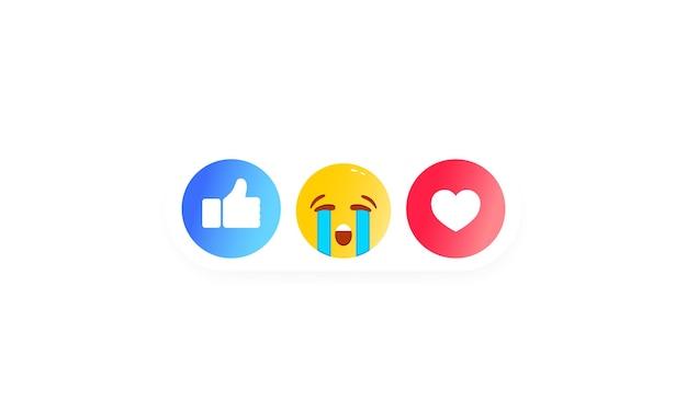 Instellen voor reacties op sociale chat. zoals hart, smiley, duim omhoog icoon zoals. pictogrammen voor sociale media. vector op geïsoleerde witte achtergrond. eps-10.