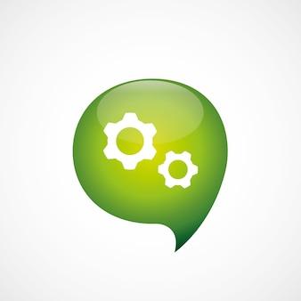 Instellingen pictogram groen denk zeepbel symbool logo, geïsoleerd op een witte achtergrond