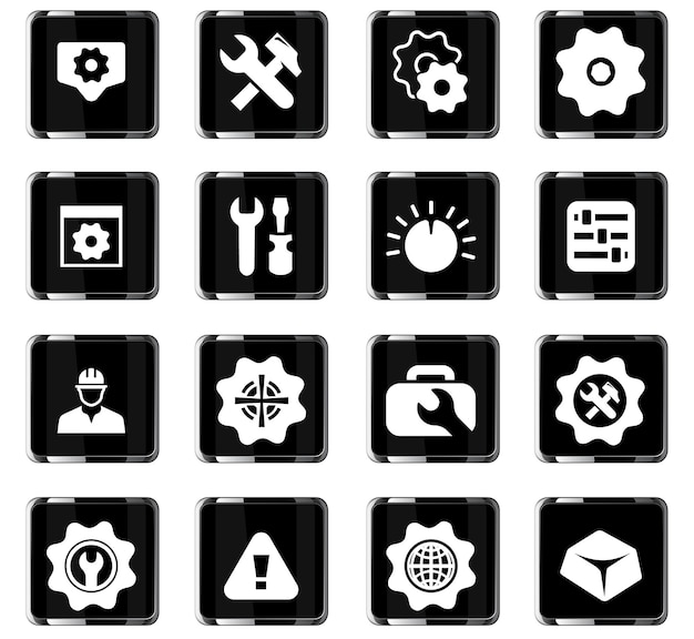 Instellingen vectorpictogrammen voor gebruikersinterfaceontwerp
