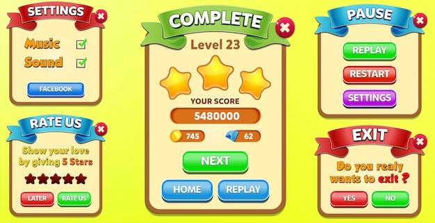 Instellingen, voltooi niveau, beoordeel ons en exit menu verschijnen met sterren score en knoppen gui