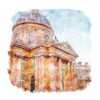 Institut de france aquarel schets