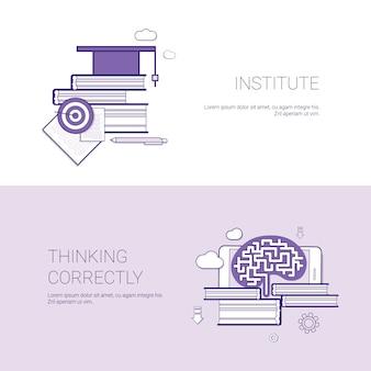 Instituut en denken correct sjabloon web banner met kopie ruimte