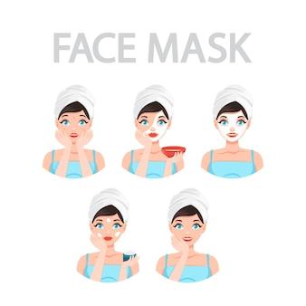 Instructies voor het aanbrengen van gezichtsmaskers voor vrouwen
