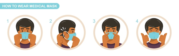 Instructies voor het dragen van medische maskers. covid-19 pandemie met chirurgisch masker. de mens draagt een beschermend masker tegen infectieziekten.