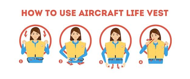 Instructies voor het gebruik van een reddingsvest in een vliegtuig. demonstratie