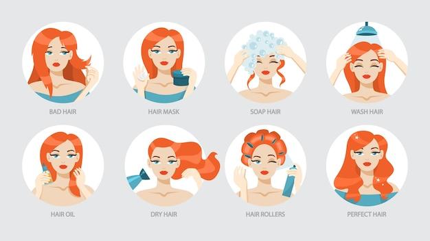 Instructies voor het verzorgen van je haar.