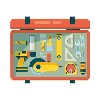 Instrument gereedschapskist. reparatie apparatuur voor werknemers timmerman items met zaaghamer roulette bouwgereedschap