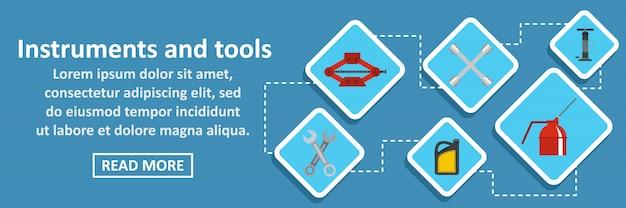 Instrumenten en hulpmiddelen auto banner horizontaal concept