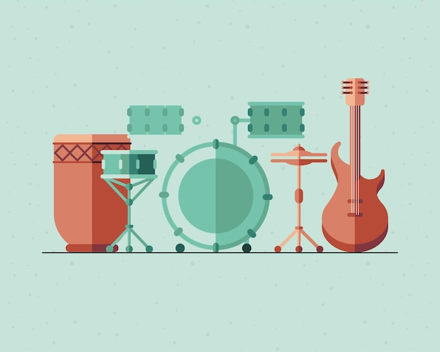 Instrumenten pictogram bundel ontwerp, muziek geluid melodie en lied thema illustratie