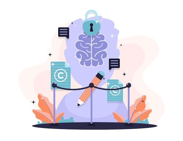 Intellectuele eigendom concept met hersenen