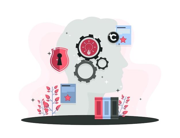 Intellectuele eigendom concept met kop en versnellingen