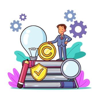 Intellectuele eigendom man met ideeën