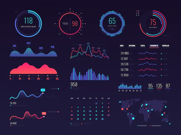 Intelligente technologie hud interface. gegevensscherm voor netwerkbeheer met grafieken en diagrammen
