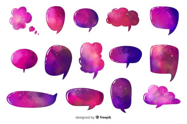 Intense paars gekleurde spraak- en dialoogbellen