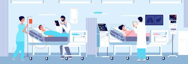Intensieve therapie kliniek. patiënten ziekenhuiszorg in afdeling interieur. vrouw mechanisch ventilatieapparaat, artsen verpleegster vectorillustratie. medische beademingsapparatuur, intensieve therapiehulp