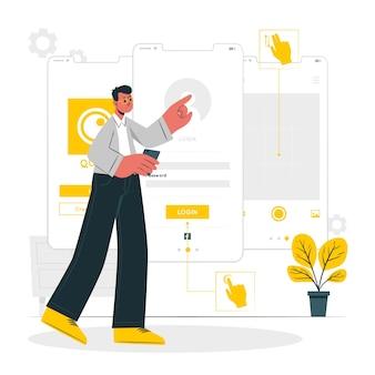 Interactie ontwerp concept illustratie