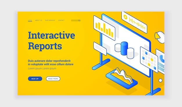 Interactieve rapporten. vectorbanner van webpagina met bord- en grafiekpictogrammen die informatie bieden over interactieve rapporten. elektronische rapportage. isometrische webbanner, sjabloon voor bestemmingspagina
