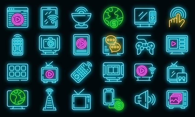 Interactieve tv-pictogrammen instellen. overzicht set van interactieve tv vector iconen neon kleur op zwart