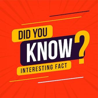 Interessant feit wist je dat design