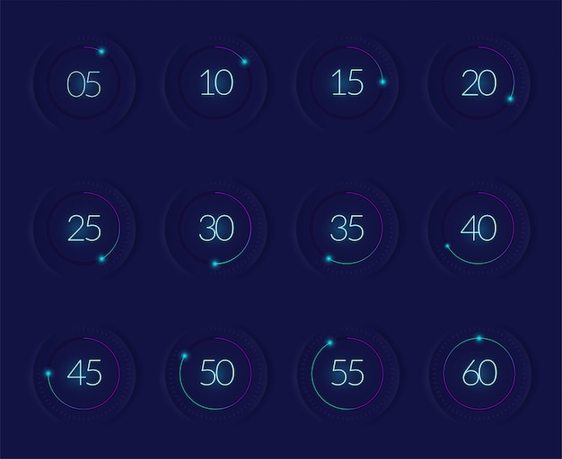 Interface countdown set met moderne technologie symbolen realistisch geïsoleerd