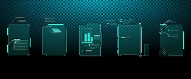 Interface-elementen hud, ui, gui. bijschrift titels ingesteld. futuristische toelichtingsbalklabels, informatie