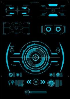 Interface-elementen hud, ui, gui. bijschrift titels ingesteld. futuristische toelichtingsbalklabels,