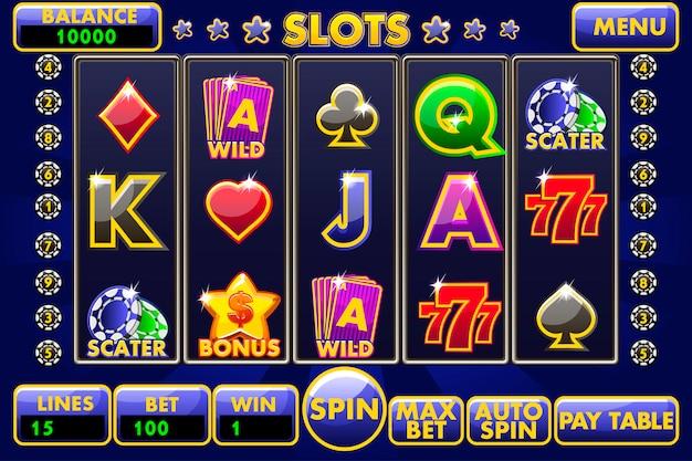 Interface gokautomaat. compleet menu met grafische gebruikersinterface en volledige set knoppen voor het maken van klassieke casinospellen. grote set van gaming casino iconen