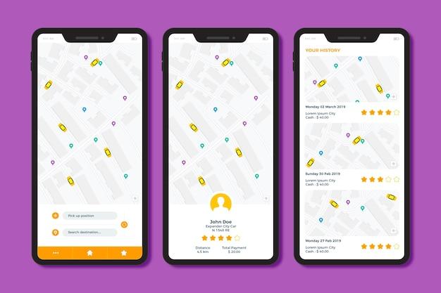Interface ontwerp taxi-app