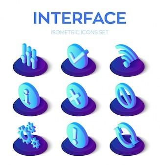 Interface pictogrammen instellen. gebruikersinterface 3d isometrische pictogrammen voor mobiel en web.