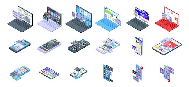 Interface pictogrammen instellen. isometrische set interface vector iconen voor webdesign geïsoleerd op een witte achtergrond