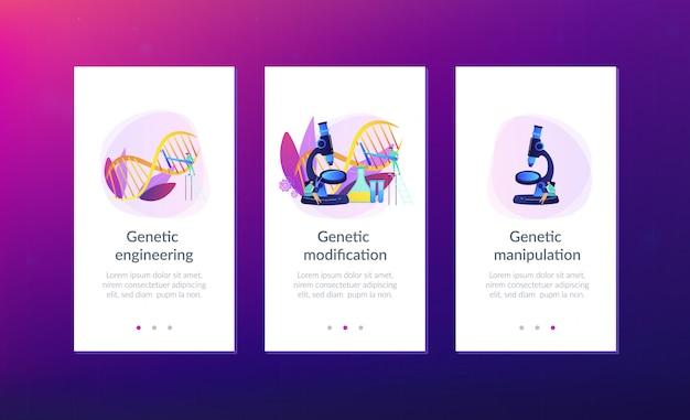 Interface-sjabloon app genetische manipulatie.