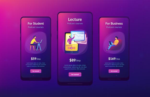 Interface-sjabloon app opgenomen klassen.