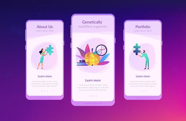 Interface-sjabloon app voor genetisch gemodificeerd organisme.