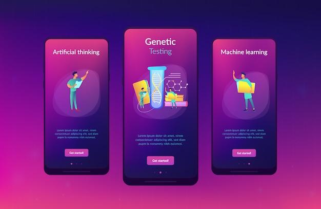 Interface-sjabloon voor app voor genetische tests.