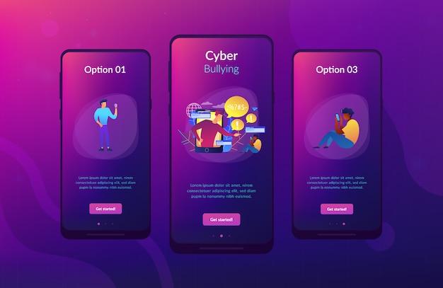 Interface-sjabloon voor cyberpesten-app.
