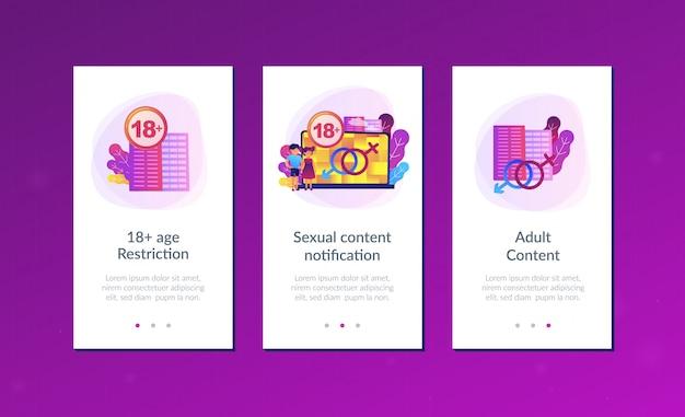 Interface-sjabloon voor inhoud voor volwassenen.