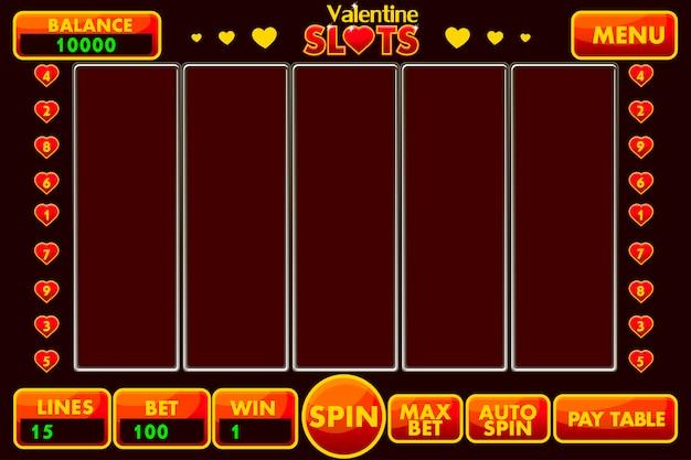 Interface slotmachine stijl st.valentine in rood gekleurd. compleet menu met grafische gebruikersinterface en volledige set knoppen voor het maken van klassieke casinospellen.