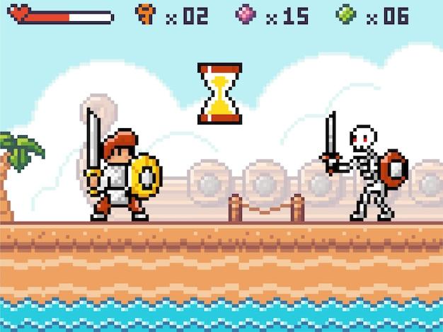 Interface van pixelspel, held of karakterridder klaar om met skelet te vechten