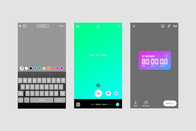Interface verhalen sjabloon voor instagram
