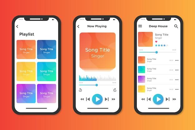 Interface voor app voor muziekspeler