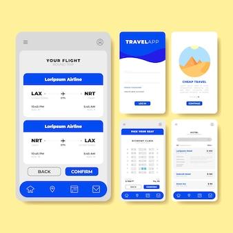 Interface voor het boeken van reisapps